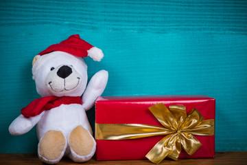 Christmas teddy bear and gift
