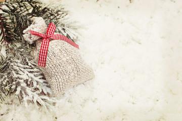 Vintage Christmas gift bag decoration background