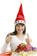 canvas print picture - Junge Frau mit Weihnachtsgeschenken