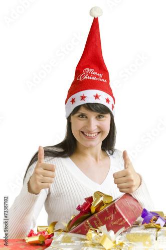 canvas print picture Junge Frau mit Weihnachtsgeschenken