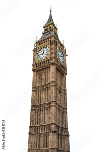 Big Ben in London on white background - 73387115