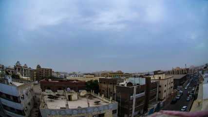 cloudy sunset over southern of Jeddah city time lapse