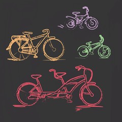 Sketched chalky bicycle set on blackboard