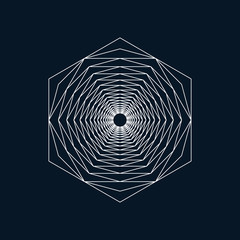 Geometric element, hexagon, line design, vector