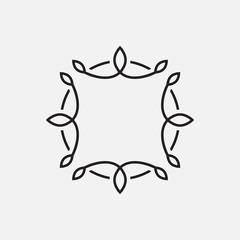 Monogram frame template, floral ornament, simple design