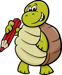 turtle with pencil cartoon illustration