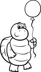turtle with balloon coloring page