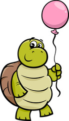 turtle with balloon cartoon illustration