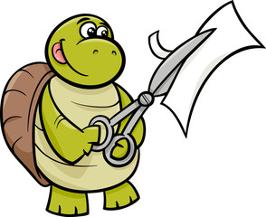 turtle with scissors cartoon illustration
