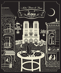 Cover for a menu with Parisian cafes and Notre Dame de Paris