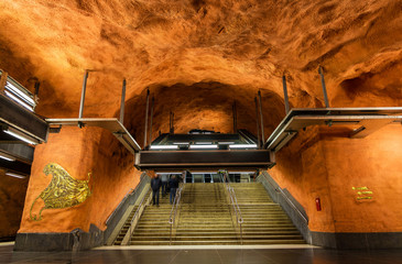 Interior of Rinkeby station, Stockholm metro
