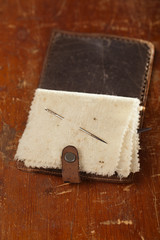 Vintage leather  Needle Book