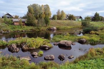 Rocky river Tihmanga in Northern Russia