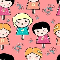 girl pattern textiles