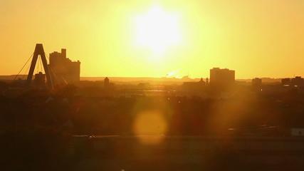 City sunset timelapse, day to night skyline long shot, Cologne
