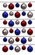 canvas print picture - Christbaumkugeln in rot, blau und weiß