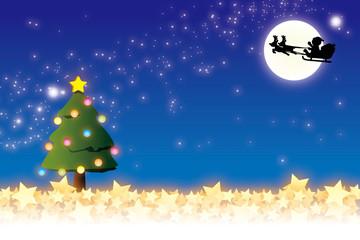 背景素材壁紙(クリスマス・サンタとトナカイのソリ)