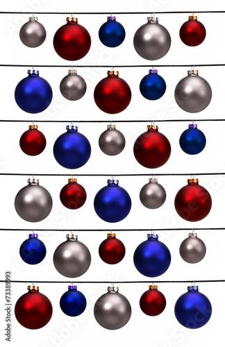 canvas print picture Christbaumkugeln in rot, blau und weiß