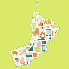 Map of Oman with technology icons