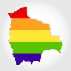 Rainbow flag in contour of Bolivia