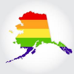 Rainbow flag in contour of Alaska