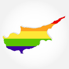 Rainbow flag in contour of Cyprus