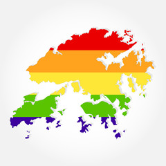 Rainbow flag in contour of Hong Kong