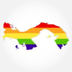 Rainbow flag in contour of Panama