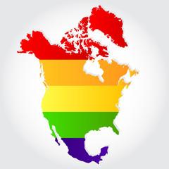 Rainbow flag in contour of North America