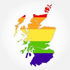 Rainbow flag in contour of Scotland