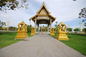 Beautiful outdoor design of Thai temple