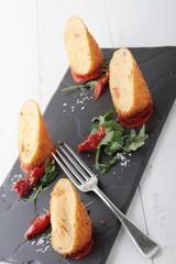 plated potato croquette appetizer starter