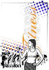 fitness woman color poster background