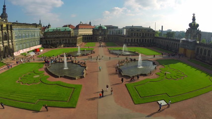 Aerial shot of cultural capital of Germany Dresden, Royal Palace