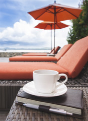 coffee and book summer holiday background