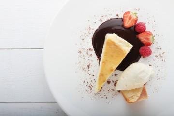 plated creme brulee tart dessert pie