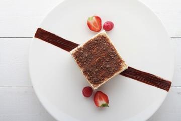 tiramisu plated dessert pudding