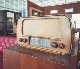 Radio wooden vintage object home interior decoration