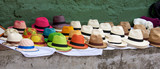 Panama hats set out for sale at an open air market in Bogota Col