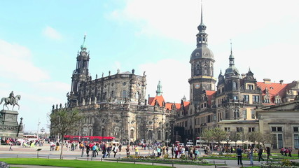 German city Dresden establishing shot, European architecture day