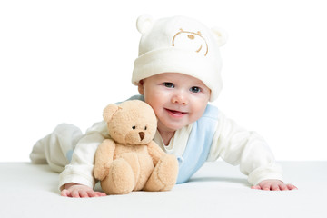 baby weared funny hat with plush toy