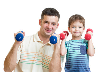 man and kid son doing exercise with dumbbell together