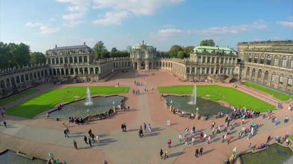 Royal Palace Dresden aerial shot, court place Germany, tourism