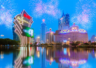 Buildings of Macau Casino with firework