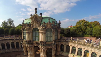Rococo architecture aerial shot, Royal Palace Gallery Dresden