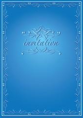 Classy Invitation Design in Blue with Calligraphic Border
