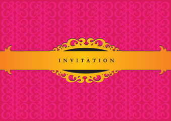 Elegant Pink and Gold Decorative Invitation Design