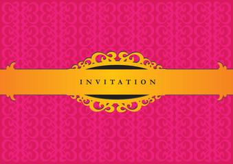 Elegant Pink and Gold Decorative Invitation Design