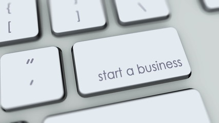 Start a business button on computer keyboard. Key is pressed