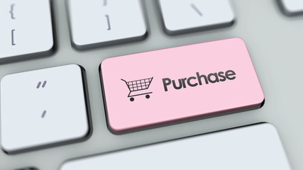 Purchase button on computer keyboard. Key is pressed